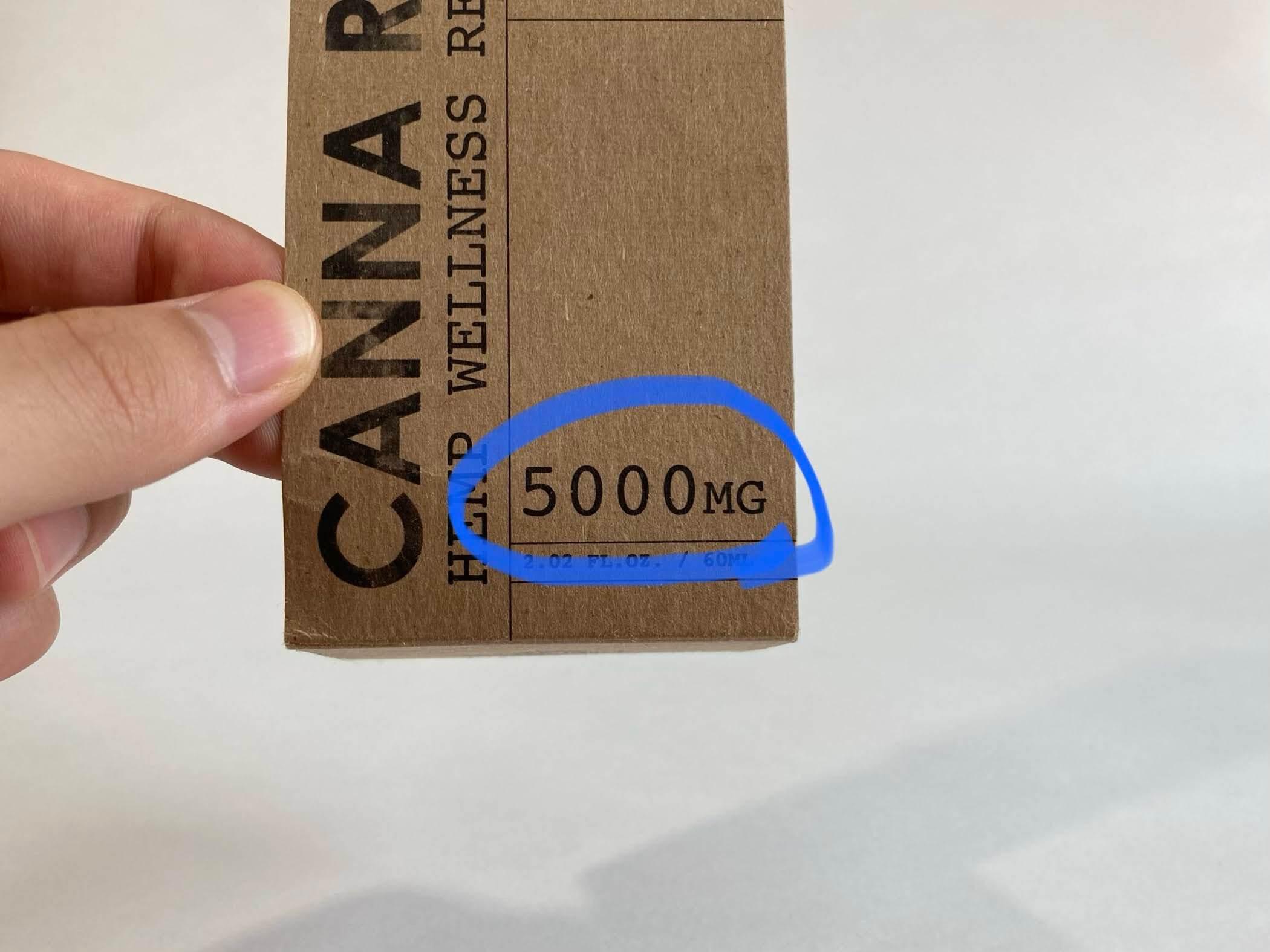 カンナリバー(CANNA RIVER)のCBDオイル、パッケージ5000mg配合